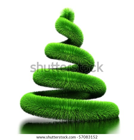 Spiral from fur. Stylized by Christmas tree. Isolated - stock photo
