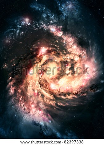 spiral galaxy in a dark space, abstract background - stock photo