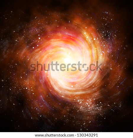 spiral galaxy in space with stars - stock photo