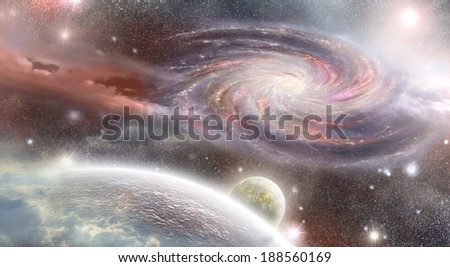 spiral galaxy to the planet in the foreground in space - stock photo