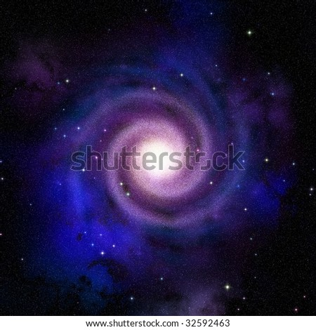 Spiral galaxy top view hypothetical presentation of our own galaxy Milky Way - stock photo
