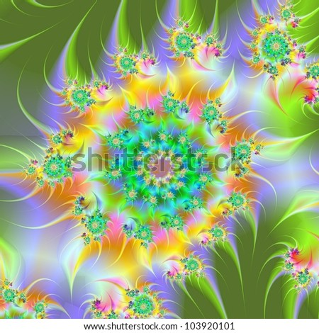 Spiral Garden/Digital abstract spiral design in green, yellow, lilac and orange.