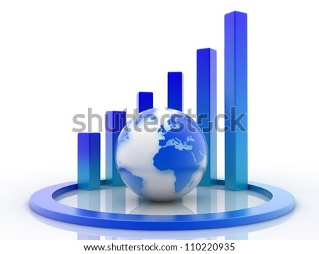 Spiral graph and world globe 3d illustration - stock photo