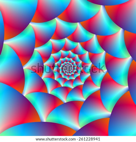 Spiral in Blue and Red / A digital abstract fractal image with a spiral design in blue and red. - stock photo