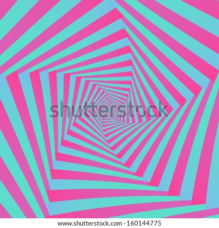 Spiral in Pink and Blue / Digital abstract fractal image with a spiral pentagon  design in pink and blue. - stock photo