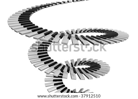 spiral keyboard with reflections - stock photo