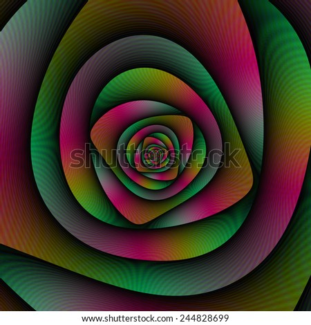 Spiral Labyrinth in Green Pink and Purple / A digital abstract image with a spiral labyrinth design in green, pink and purple. - stock photo