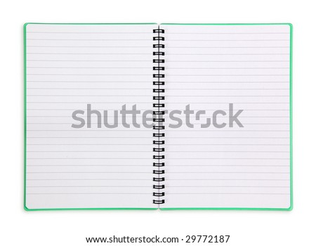 Spiral lined exercisebook isolated on white background - stock photo