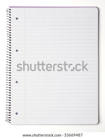spiral lined notebook isolated on white - stock photo