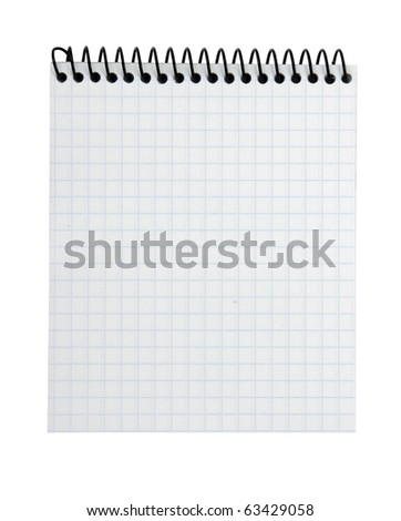 spiral lined notebook isolated on white background - stock photo