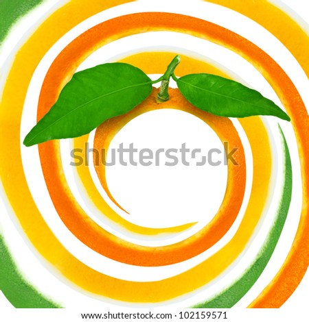 Spiral made of citrus skin isolated on white - stock photo