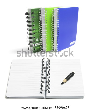 Spiral Note Pads on White Background