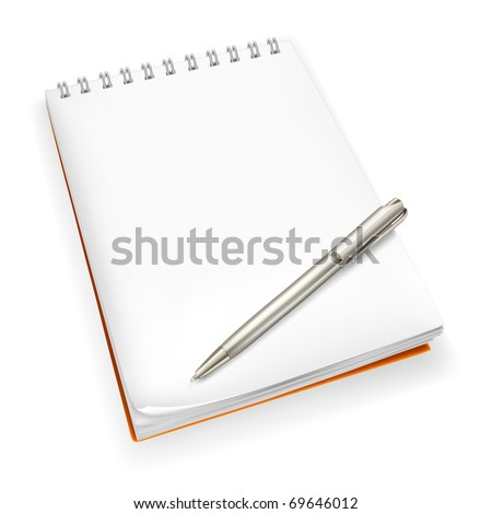Spiral Notebook with pen, Bitmap copy - stock photo