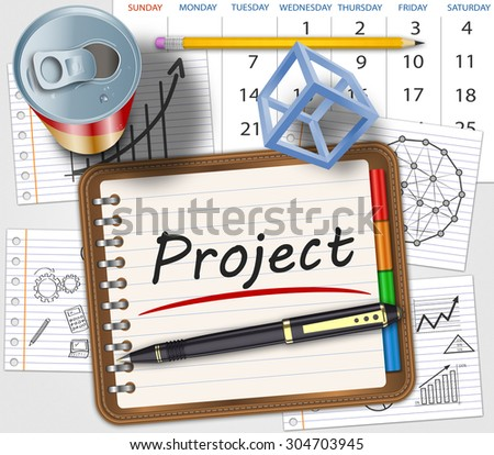 Spiral notebook with project development - stock photo