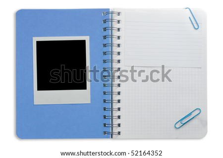 Spiral notepad and black instant photo isolated on a white - stock photo