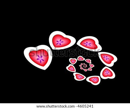 spiral of hearts on black background - stock photo