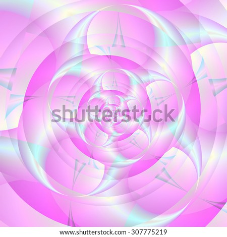 Spiral Pincers in Pink and Blue / A digital abstract fractal image with a spiral of spinning pincers design in blue and pink. - stock photo
