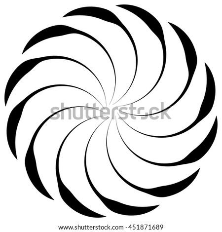 Spiral shape on white. Curved lines rotating from a centric point forming a circle. Abstract geometric element. Vortex, swirl illustration. - stock photo