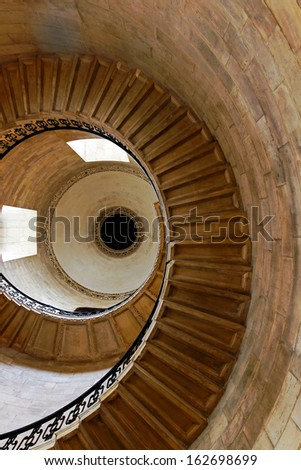 Spiral shape stairway in medieval stone tower