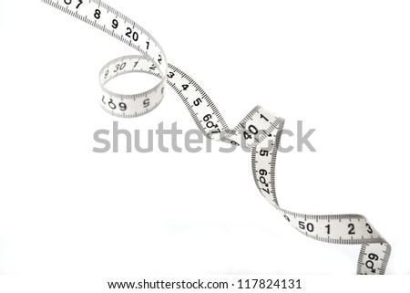 Spiral shaped white tape measure - stock photo