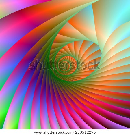 Spiral Shell / A digital abstract fractal image with a spiral design in pink, blue, orange and green. - stock photo