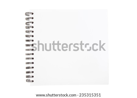 Spiral sketch book opened isolated on white background