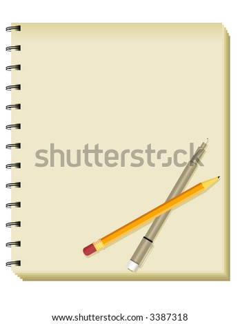Spiral Sketchbook/Notepad with Pencil and Pen - stock photo