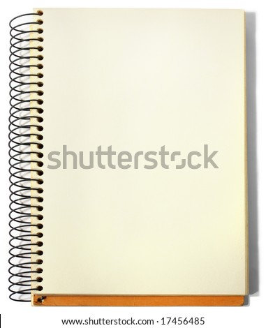 Spiral sketchbook, opened on a blank page, isolated. - stock photo