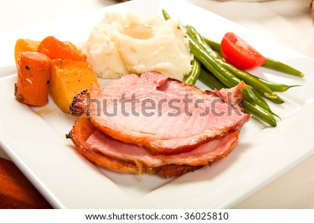 Spiral Sliced Ham on plate with Vegetables