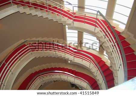 Spiral stair case in a modern hotel - stock photo