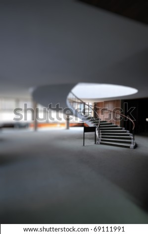 Spiral stair taken with a tilt-shift effect - stock photo