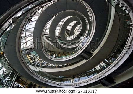 Spiral staircase, city hall, London UK - stock photo