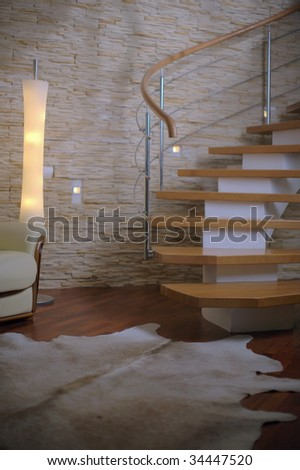 spiral staircase in a comfortable interior - stock photo