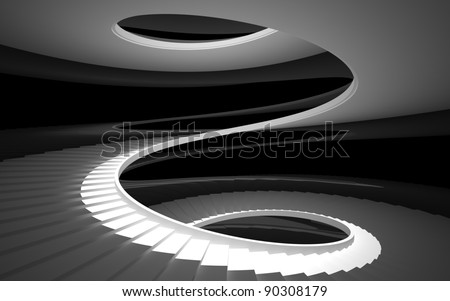 spiral staircase in a white glossy black walls - stock photo