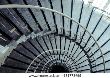 spiral staircase in modern building - stock photo
