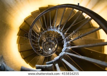 Spiral staircase in the monument - stock photo