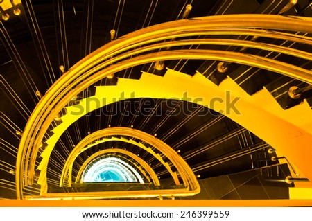 Spiral staircase in the tower, Thailand. - stock photo