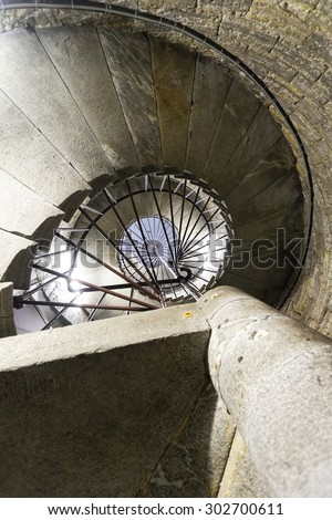 Spiral staircase inside of the Cathedral. - stock photo