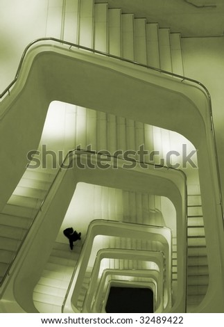 "Spiral staircase of ""Caixa Forum Building"", Madrid - stock photo"