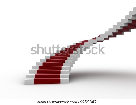 Spiral staircase with red carpet - stock photo