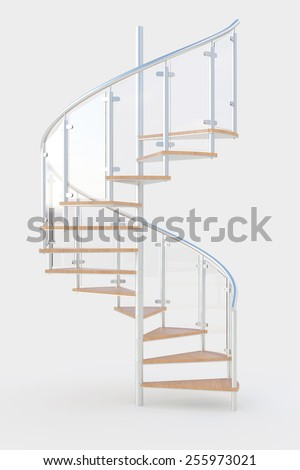 Spiral staircase with wooden steps and metal railing (3D Rendering) - stock photo