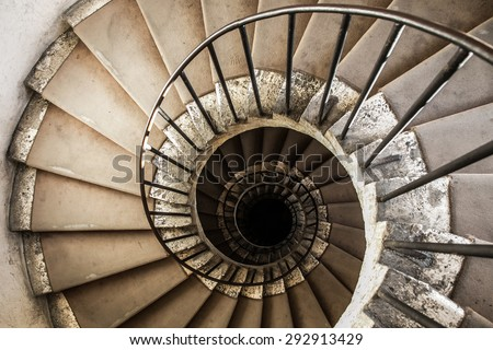 spiral staircases architectural element of a historic building - stock photo