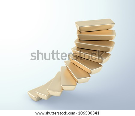 Spiral stairs build out of gold bars - stock photo