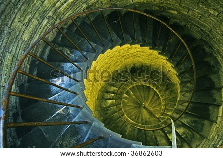 Spiral stairs in ancient church in Saint Petersburg, Russia. Natural and artificial light.
