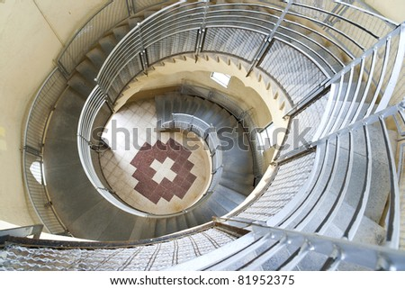 spiral stairway case from above in Tibidabo church, Barcelona - stock photo