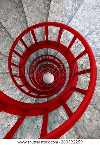 Spiral stone stairs with red painted balustrade, view from top 	  - stock photo