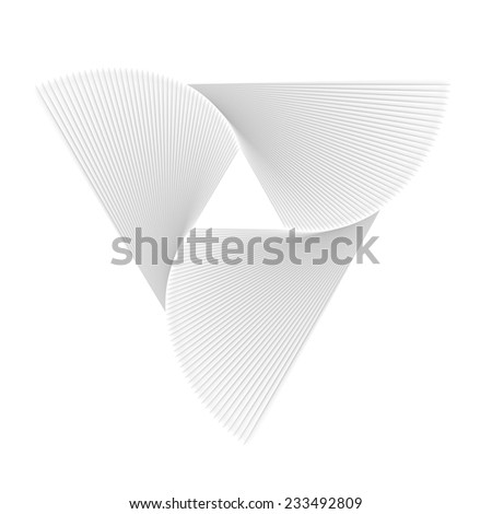 Spiral triangle staircase abstract on white isolated - stock photo