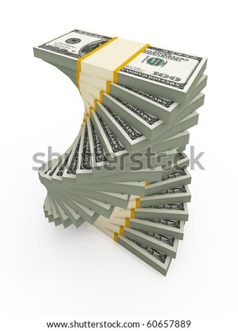 Spiral USD stacks - stock photo