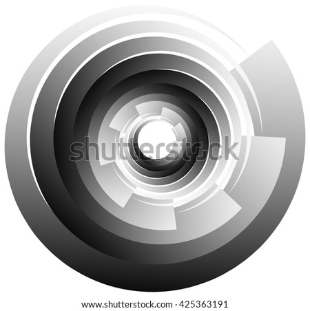 Spiral, vortex or volute element isolated on white. Rotating abstract shape with grayscale gradient.
