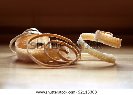 Spiral wood shavings - stock photo
